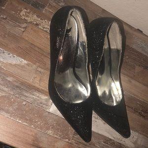Black glitter one inch heels. Size 7.5